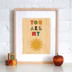 FRAMED 8x10 You Are My Sunshine Print on Wood by petitcollage, $50.00