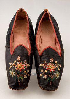 Lady's Colorfully Embroidered Shoes, Mid 19th C