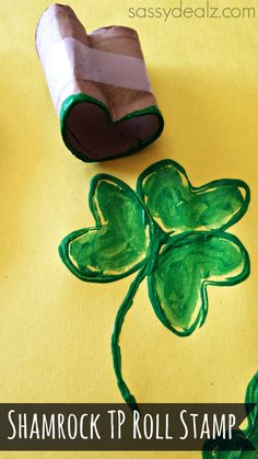 Shamrock Toilet Paper Roll Stamp -  #StPatricksDay Craft for #Children (pinned by Super Simple Songs) #educational #resources