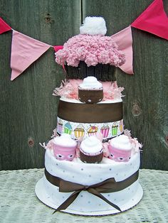 Lil' Cupcake 3 Tier Diaper Cake by AllDiaperCakes on Etsy