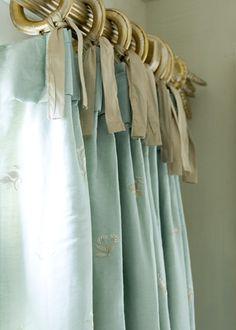 guest bedrooms, silk ribbon, ribbons, interiors, ties, window treatments, shower curtains, aqua, antiques