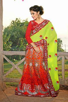 USD 89.5 Green and Orange Velvet Embroidered Lehenga Saree  33738