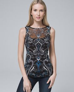 Embroidered Mesh Tank