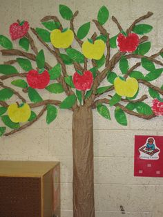 Later in Sept., we sponge paint apple shapes with red, yellow or green and add them to our tree.