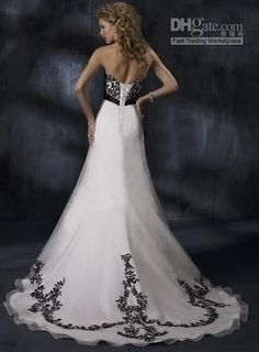 Wedding Dress with Black Accents