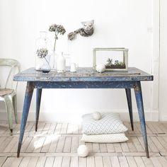 Tolix blue table