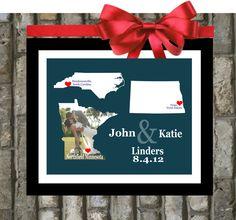 Custom Wedding States Art Print - 8x10 Custom Art, Two States, Hearts, Love, Husband and Wife, Popular Wedding Gifts, Three States. $24.99, via Etsy.