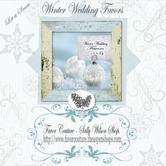 """""""Snow Flurry"""" Flocked Glass Ornament Place Card/Photo Holder (Set of 6) http://favorcouture.theaspenshops.com/product/snow-flurry-flocked-glass-ornament-place.html"""