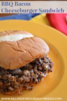 BBQ Bacon Cheeseburger Sandwich -  If you enjoy BBQ Bacon Cheeseburgers and the simplicity of a Sloppy Joe, you will love this BBQ Bacon Cheeseburger Sandwich. http://recipesforourdailybread.com/2014/03/22/bbq-bacon-cheeseburger-sandwich/ #sandwich #bbq #cheeseburger