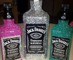 Glitter alcohol bottles! Cute 21st birthday present idea.