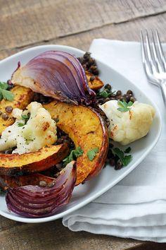 Roasted Vegetables with Lentils - Vegan #vegan #recipes #veganrecipes