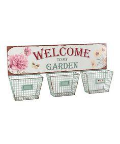 Loving this 'Welcome to My Garden' Three-Basket Storage Center on #zulily! #zulilyfinds