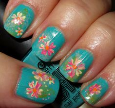Teal flower nails