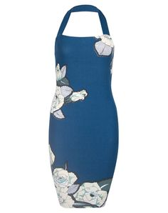 Motel Lizzy Wiggle Dress in Navy Blue 50s Rose Print