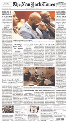 Trayvon Martin's father, Tracy, weeps atop our NYT front page