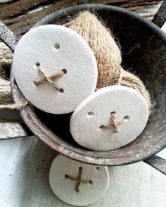 Cute Button White Clay Tags Set of 4 by LaMaisonJolie on Etsy, $10.00