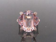Vintage 14K Solid Rose Gold 13.06ct Rose De France Lavender Amethyst & Diamond R