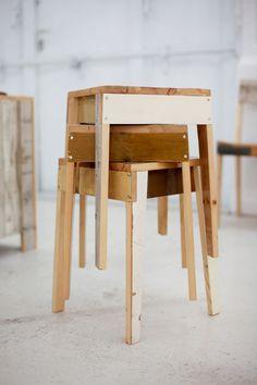 reclaimed wood stools