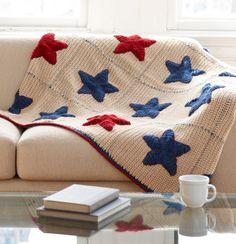 Stars blanket, free pattern by Lion Brand