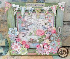 A gorgeous altered Botanical Tea frame from Rhea #graphic45 #alteredart
