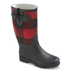 plaid rain boots.