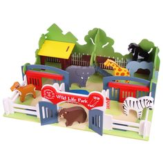 """Live life on the wild side with this beautifully constructed wooden wildlife park! Make the most suitable enclosures for the bear, tiger, giraffe, zebra, kangaroo, oryx, lion and elephants and then have a """"whale"""" of a time playing with them! An ideal introduction to exploring the natural world. Some assembly required. Only £59.99."""
