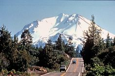 Lassen peak as seen from the Volcanic scenic byway in Northern California