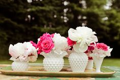 Beautiful Hobnail vases, I'M USING ALL WHITE MILK GLASS IN THE CENTER PIECES FOR THE RECEPTION WITH ALL DIFFERENT COLORS OF FLOWERS.  I HAVE TONS OF DIFFERENT SHAPES AND SIZES OF THE WHITE MILK GLASS VASE, BOWLS AND WE ARE USING A MILK GLASS PUNCH BOWL AND CUPS.