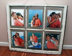 Showcase a series of wedding or honeymoon photos using an old window as your frame. You can print the photos at Kodak Picture Kiosk. #wedding #honeymoon #photography #ideas #diy #craft