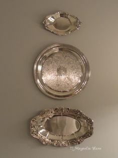 Quick, easy, and invisible way to hang silver plates and platters.