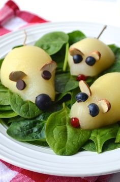 Mouse Pear Salads on a Spinach Bed! Healthy Dinners that will Make Kids Smile from AlwaysOrderDessert.com