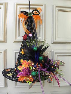 Floral Halloween Witches Hat Door Wreath