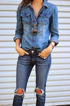 chambray on denim and aviators