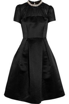 Embellished brushed-satin dress