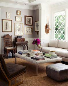 Mix of modern + antiques, layered neutrals