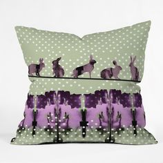 Randi Antonsen Playing Hares In The Snow Throw Pillow | DENY Designs Home Accessories