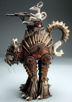 Mitchell Grafton - Armored Cat and Mouse Ceramic Sculpture