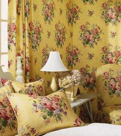 rose, yellow floral wallpapers, upstairs bedroom, shabby decor, yellow cottag