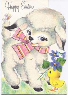 Vintage used  Easter Greeting Card  Lamb Die Cut