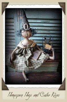Witch Theodora by Vicki Stevenson ♥ Homespun Hugs and Calico Kisses ~ Primitive Halloween Witch and Cat Dolls