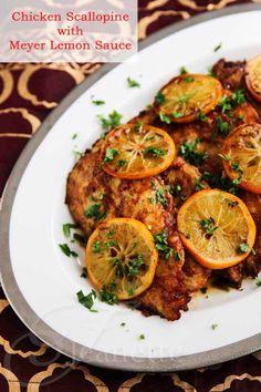 Chicken Scallopine with Meyer Lemon Sauce  #chicken #glutenfree #Meyerlemon #Italian #recipe