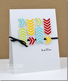 handmad card, card idea, birthday card, birthday hello, color, chevron hello, greeting cards, hello chevron, chevron card