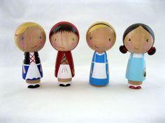 Little Red Riding Hood goes to Grandma's Kokeshi Peg Doll