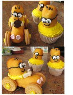 minions, minion cupcakes, food crafts, minion twinkie cupcakes, minion twinkies, twinki cupcak, baking cakes, craft ideas, kid