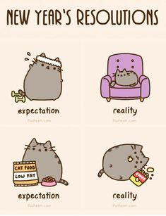 Pusheen the cat - New Year's Resolutions