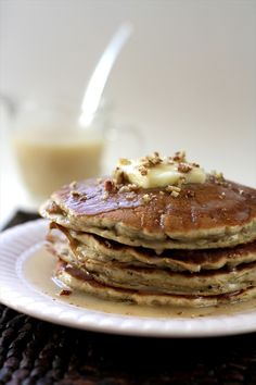 Banana Pecan Pancakes with Homemade Butter Syrup + tips for fluffy pancakes