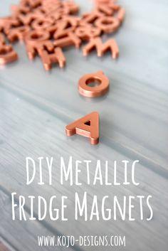Metallic fridge alphabet magnets