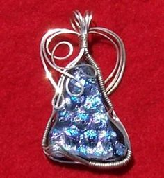 FREE S -Pendant -Fantastic Blue & Purple Dichroic Glass in Silver-A JewelryArtistry Original-P295