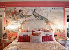 This bedroom mixes Modern Victorian with a Chinoiserie backdrop.