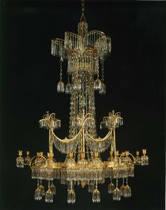 Circa 1800 GILT BRONZE AND CRYSTAL 18-LIGHT CHANDELIER, ALMOST CERTAINLY BY WERNER & MIETH,   Berlin.
